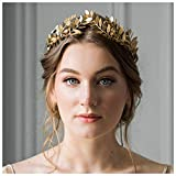 Anglacesmade Diadema nupcial con hoja de vid de hoja de oro y hoja de corona de hoja de corona de boda, diadema de dama de honor, fiesta de graduación, accesorios para el cabello para mujeres y niñas (dorado)