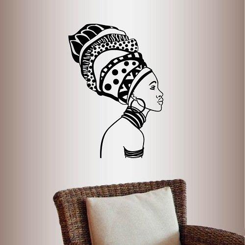 Lplpol muur Vinyl Decal Home Decor Art Sticke Mooie Afrikaanse Meisje Vrouw Met Oorbel Mode Stijl Model Schoonheid Haar Salon Mode Kamer Verwijderbare Stijlvolle Mural Uniek Ontwerp