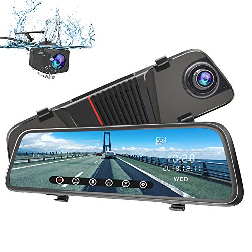 AWESAFE Rückspiegel Dashcam 1080P 10 Zoll Vorne und Hinten Autokamera mit 170 Grad Weitwinkel WDR Nachtsicht Loop-Aufnahme G-Sensor Bewegungserkennung Parkmodus