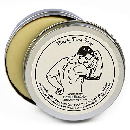 Manly Man Soap-100% Natural Skin Care Bar. Scented with Essential Oils. One 4 oz Bar in a Handy Travel Gift Tin. Great For Men, Workout, Muscle, Exercise Lovers.