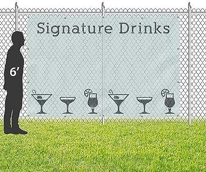 CGSignLab 9x6 Signature Drinks Wind-Resistant Outdoor Mesh Vinyl Banner