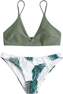 Women's Swimsuit Leaf Print Padded Bathing Suits Adjustable Straps Bikini Set