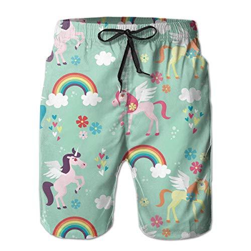 DLing Badehose für Herren Robot Unicorn Attack Quick Dry Beach Board Shorts,L