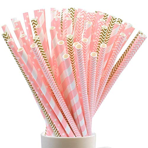 100 Stück Einweg Trinkhalme Biologisch Abbaubare Papier Straw Strohhalm Strohhalme für Geburtstag, Hochzeit, Baby-Dusche, Feiern und Party (01)