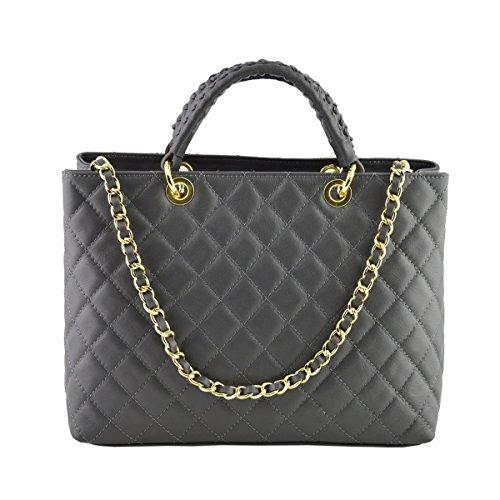 Dream Leather Bags Made in Italy toskanische echte Ledertaschen Echtes Leder Gestepptes Handtasche Farbe Dunkelgrau - Italienische Lederwaren - Damentasche