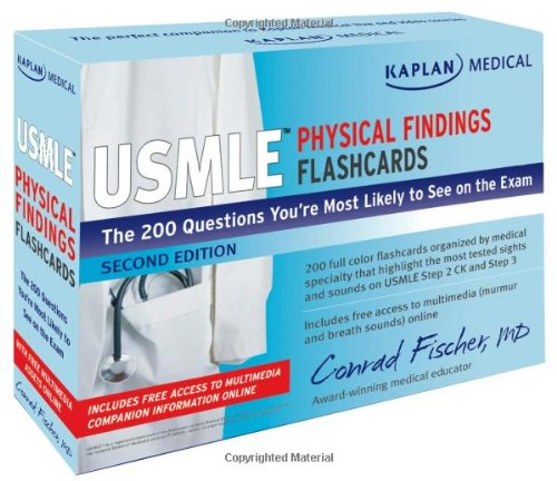 Kaplan Medical USMLE Physical Findings Flashcards: The 200 Questions You?re Most Likely to See on the Exam (USMLE Prep)
