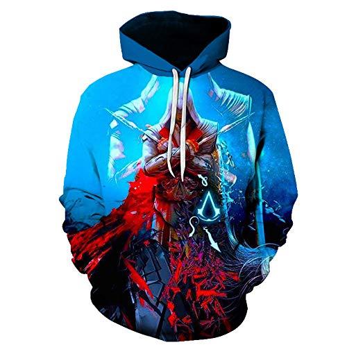 Pullover Sudaderas Jerséis Chaquetas Unisex 3D HD Anime Impreso Capucha Cool Nylon Assassin'S Creed Cosplay Camisetas De Larga Manga Larga Camisas Top Transpirable Suéter-A_L