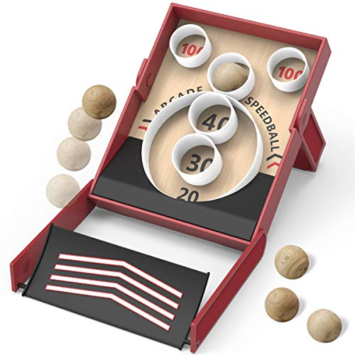 Sharper Image Collapsible Retro-Style Speedball Game, Indoor and Outdoor Arcade Toy, Roll The Ball and Hit The Target, Easy Setup, Includes Scorecards and 5 Wooden Balls, Fun Game for Kids and Adults