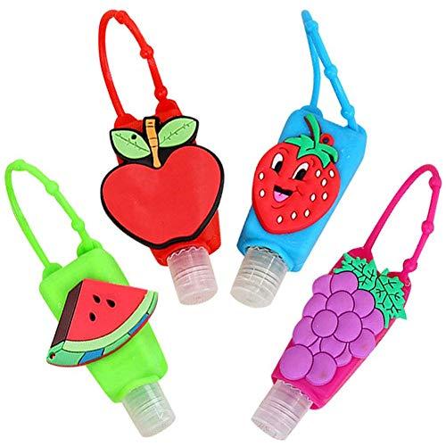 4 Piezas Botellas de Viaje Portátiles para Niños, 30ml Botellas Vacía Rellenable de Silicona Contenedor Desinfectante para Manos para la Escuela, Viajes, Juegos al Aire Libre (Frutas)