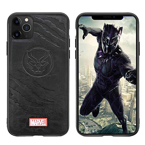 Leather Case with Avengers Character Compatible with iPhone 12 and iPhone 12 Pro 6.1-Inch, Black Panther Emblem Design, Black