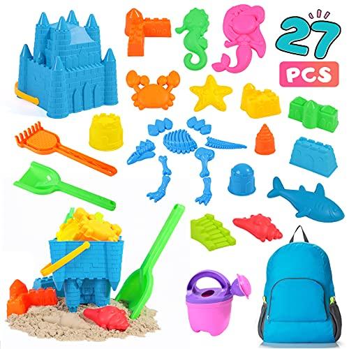 Rolimate Juguetes de Arena de Playa Set para niños, 27 pcs Sandbox Toys para la Playa con Bolsas de Secado rápido, Juguetes de Arena para la Playa para niños pequeños (Azul)