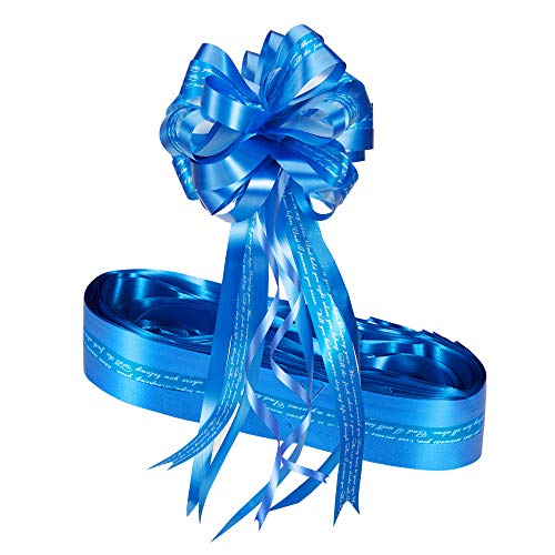 Atuka Paquete de 10 lazos grandes de satén de 18 cm de ancho, para envolver regalos, ramos de flores, cestas, coches de boda, decoraciones de fiesta (azul)