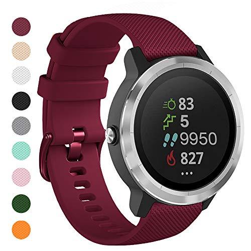 Onedream Correas Compatible para Garmin Vivoactive 4, Compatible con Samsung Galaxy Watch 3 45mm, Pulsera de Repuesto Band Deportivo Correa del Reloj Silicona Accesorios 22mm, Vino Tinto (Sin Reloj)
