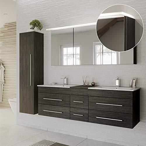 Lomadox Badmöbel Komplett Set anthrazit gemasert, Doppel-Waschtisch mit Unterschrank, 2 Waschbecken, LED-Spiegelschrank, Hochschrank