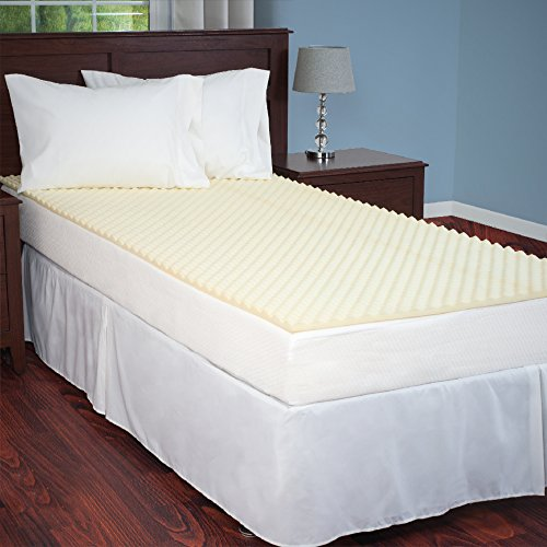 Egg Crate Mattress Topper Twin XL designed to add extra comfort and support. Great for dorms, hospital beds, cots, campers, more -by Everyday Home