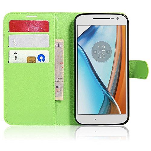 Tasche für Lenovo Moto G4 Play (5.0 zoll) Hülle, Ycloud PU Ledertasche Flip Cover Wallet Hülle Handyhülle mit Stand Function Credit Card Slots Bookstyle Purse Design grün