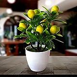 Lazyspace 2 adornos artificiales para plantas en maceta, bonsái de plástico, árbol pequeño, eucalipto, plantas verdes, decoraciones de interior, flores falsas (verde+amarillo)