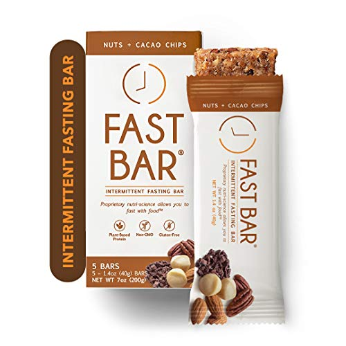 Fast Bar, Nuts & Cacao Chips, Gluten Free, Plant Based Protein Bar For Weight Management & Intermittent Fasting (5 Count Box)