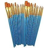 HMILYDYK - Juego de 30 pinceles para pintura al óleo profesional, para acuarela, pintura al óleo, lienzo, cerámica, arcilla, madera y pintura de modelo