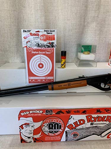 Bundle - 5 Items - Daisy Red Ryder 80th Anniversary Edition Carbine BB Gun + Daisy Red Ryder Starter Kit + A Christmas Story Decoder Pin + Pack of 25ct Daisy Targets + Tube of Daisy BBs 350ct