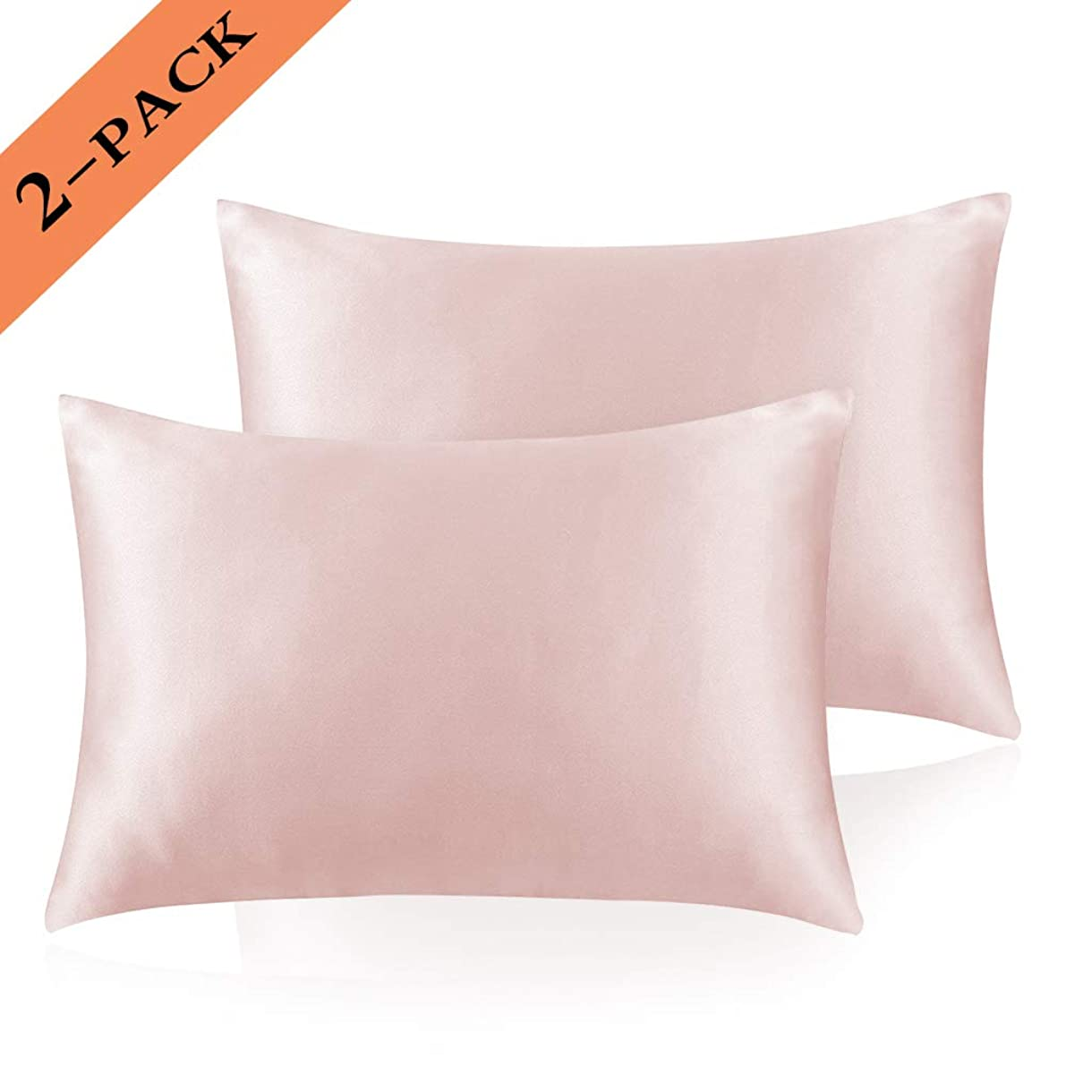 Ravmix Standard Size Silky Soft Satin Pillowcases for Hair and Skin Set of 2 Pillow Covers with Envelope Closure, Hypoallergenic Anti-Wrinkle Beautiful Sleep, Machine Washable, 20''x26'', Rose Pink