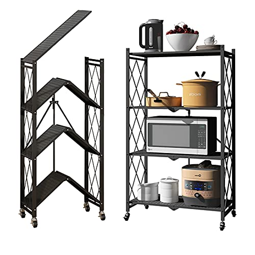 BENOSS Foldable Metal Storage Shelves with Wheels , Heavy-Duty Black Wire Rack Folding Storage Rack No Assembly, for Garage Kitchen Pantry Bedroom