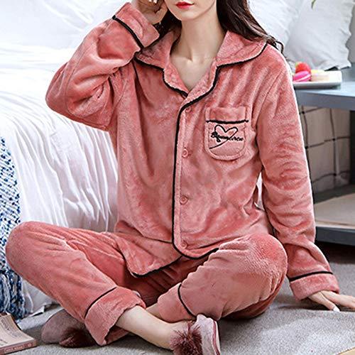 Conjunto De Pijama De Mujer,Terciopelo Rojo Casual Manga Larga Botón Ropa De Dormir Pantalones...