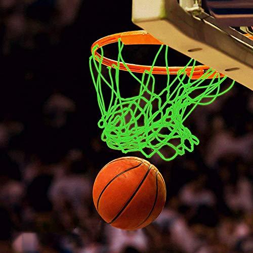 Filet de Basket Extérieur, Filet de Basket Lumineux Brillent dans Le Noir pour Sports de Plein Air Filet Panier Basket,Composants de Panier de Basketball Net en Nylon Durable