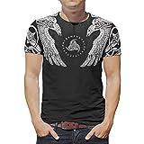 Ginald Hombres Ravens Viking T-Shirt Ocio Verano - Camisa de manga corta de poliéster