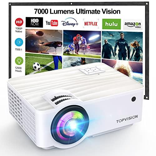 """TOPVISION Mini Proiettore Portatile,1080P Nativa Video Proiettore Supporta 1080P Full HD,7000 Lumen con Display da 300"""",Proiettore LCD per 120000 ore,Compatibile con HDMI USB SD AV VGA"""