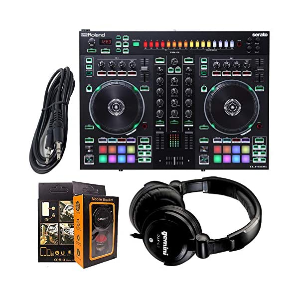 Roland PK Two-Channel, Four-Deck Serato DJ Controller DJ-505 + Gemini DJX-07 Headphone w/Free 3.5mm AUX Cable & Magnet Car Mount
