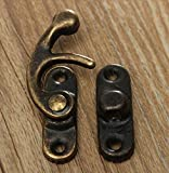 Tia Antique Metal Lock/Buckle/Latch/Hook/Swing Clasp for Wood Jewellery Box DIY Works (Small, Bronze) -20 Sets with Screws