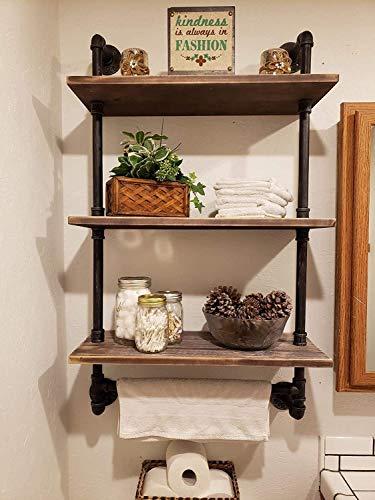 Homissue 2-Shelf Rustic Pipe Shelving Unit, Vintage Industrial Pipe Wall Shelf, Retro Brown