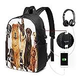 WEQDUJG Mochila Portatil 17' Pulgadas Mochila Hombre Mujer con Puerto USB, Raza Grupo Doce Perros Mochila para El Laptop para Ordenador del Trabajo Viaje