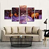 GHTAWXJ 5pcs / Set Abstract Wapiti en la Nieve Animal Wall Art Painting On Canvas Silhouette Picture Modern Home Decor Canvas