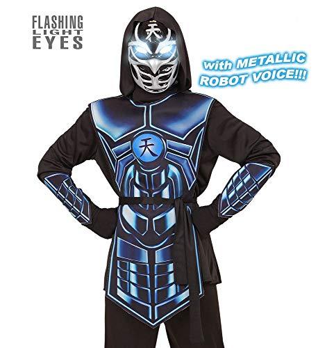 shoperama Cyber Ninja Kinder Kostüm mit Licht und Sound Effekt für Jungen Samurai Halloween, Größe:140