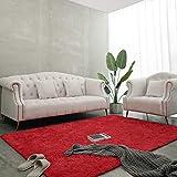 BENRON Soft Fluffy Modern Area Rugs, 5x8 Feet Shag Rug for Bedroom Living Room Decor,Plush Boys Girls Kids Room Carpets,Solid Nursery Floor Carpet,Red