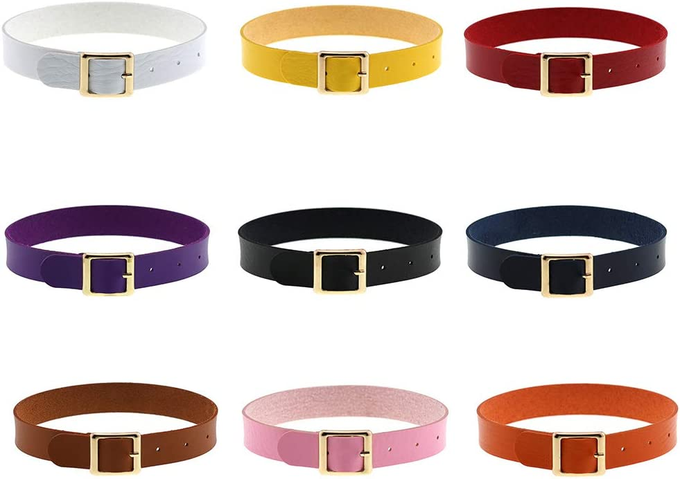 Osdkoijfueu - Women Gothic Punk Harajuku Belt Solid Color Faux Leather Collar Necklace Spiked Choker