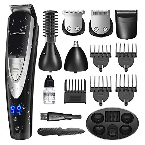 MIGICSHOW Electric Beard Trimmer for men -12 in 1 Showerproof Multi-functional Grooming Kit for Full size trimmer,Shaver,Mustach and Body trimmer, Hair Clippers with LED Display Charging Stand Base