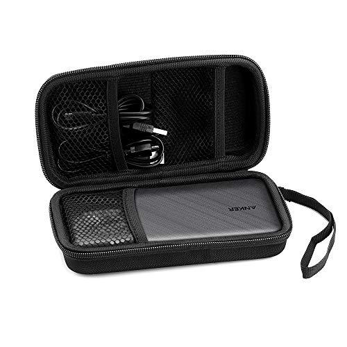EasyAcc Powerbank Case Hülle EVA Hart Tasche für Anker PowerCore 20000mAh Elektronik Organizer Kabeltasche Etui Reise Organisation Externer Akku, USB Kable, Kopfhörer, SD Karte, Schwarz