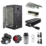 Silent & Small Grow Tent Kit - Dimmable Dual Spectrum Light Kit - Quite Running Carbon Filter Kit - 1.2 x 1.2 x 2m Grow Tent