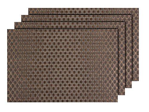 Lot de 4 Sets de Table Marron Bicolore (TS-89) Design Moderne pour décoration Sympa de qualité supérieure en PVC tressé: 45 x 30 cm