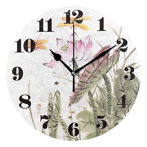 GOSMAO 25cm (9.8') Redondo Reloj de Pared Silencioso No Tick Tack Ruido Reloj de Pared Lotus con Libélula