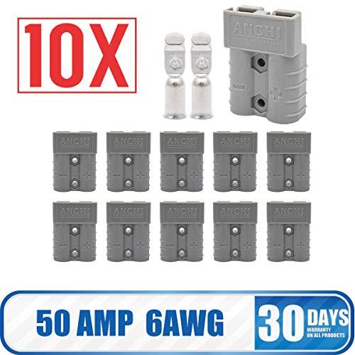 Maso Batterieanschluss - Anderson Verbindungsstecker 50 Amp, 600 V - Kabelklemme - Starthilfe, grau, 10 Stück