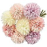 EMAGEREN Bouquet Fleur Artificiel de 8 Pissenlits Bouquet Deco Rose Orange Blanc Violet Fleur de Dahlia Hortensia pour Décoration de Mariage Maison Bureau Soirée Cafétéria Couronne de Fleurs DIY