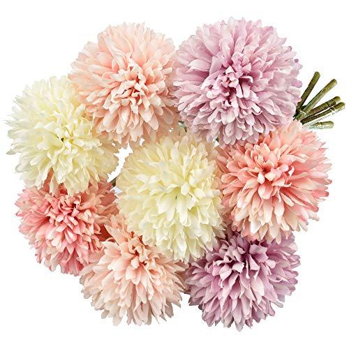 EMAGEREN Künstliche Hortensie Blumen 8 Stück Unechte Blumen Seide Chrysantheme kleine Kugel Blumen Braut Hochzeitsblumenstrauß für Haus Garten Party Blumenschmuck (Rosa Champagner Lila)