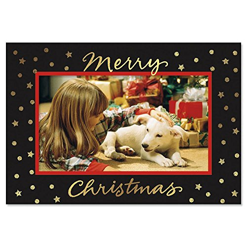 Deluxe Christmas Card Photo Frames – Black Border with Gold Foil Stars, Set of 18 Cards and Envelopes, Fits 4 x 6-inch Photos, by Current