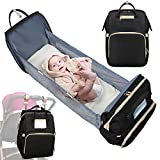 Baby Diaper Bag with Changing Station, 3 in 1 Diaper Bag Backpack Travel Bassinet Pull-Out Baby Bed, Baby Girl Mini Crib with Changing Pads, Baby Shower Gifts Bag, Large Capacity, Waterproof, Black