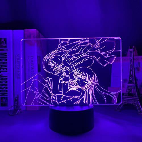 Anime Lámpara 3D Ilusión Led Noche Luz Ángel Beats para Dormitorio Decoración Regalo Colorido Nightlight Manga Ángel Beats-Control Remoto