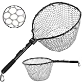 "PLUSINNO Fly Fishing Net, 16"" x 13\"" Fish Landing Net, Soft Rubber Safe Catch and Release Folding Fishing Nets for Fresh Water"